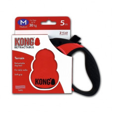 Рулетка Kong Terrain, M, для собак, лента, 5 м, до 30 кг, красная