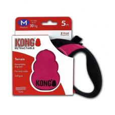Рулетка Kong Terrain, M, для собак, лента, 5 м, до 30 кг, фуксия