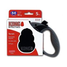 Рулетка Kong Terrain, M, для собак, лента, 5 м, до 30 кг, чёрная