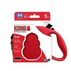 Рулетка Kong Trail, M, для собак, лента, 5 м, до 30 кг, красная