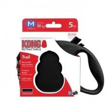 Рулетка Kong Trail, M, для собак, лента, 5 м, до 30 кг, чёрная