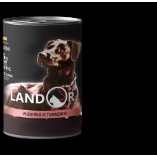 Корм Landor Puppy для щенков всех пород, индейка/говядина, банка, 400 гр