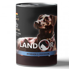 Корм Landor Adult для взрослых собак всех пород, ягнёнок/лосось, банка, 400 г