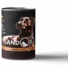 Корм Landor Adult для взрослых собак всех пород, индейка/утка, банка, 400 гр