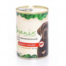 Корм Organix для собак, говядина/сердце, банка, 410 г