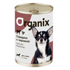 Корм Organix для собак, заливное из говядины с черникой, банка, 400 г
