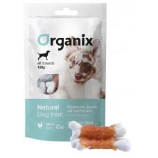 Лакомства Organix Chicken fillet/calcium twisted для собак, куриное филе на косточке с кальцием, 100 г