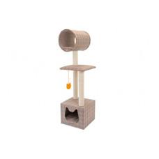 """Домик-когтеточка """"Квин"""", беленый джут, 35x35x120 см"""