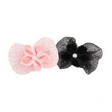 Заколка-бантик с цветком и жемчужинкой, черный, LAYNA/BLACK/FR