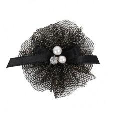 Заколка-цветок с бантом из ленты, жемчужинками и горным хрусталем, черный