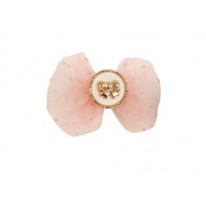 Заколка-бант с пуговкой, розовый