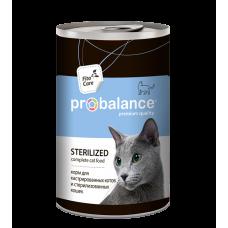 Корм ProBalance Sterilized для кастрированных и стерилизованных котов и кошек, банка, 415 г