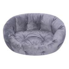 Лежак Yami-Yami с подушкой, овальный, пухлый, серый, 47x38x17 см