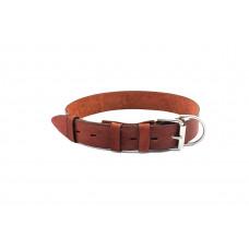 Ошейник Yami-Yami кожаный, коричневый, 40 мм, 60-75 см