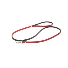 """Поводок Yami-Yami """"Брайт"""" двухслойный, кожаный, с карабином, красный 14 мм, 1.2 м"""