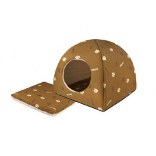 "Мягкий домик Yami-Yami ""Юрта"" с подушкой, хлопок, коричневый, 42×42×41 см"