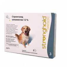 Капли Zoetis Стронгхолд для собак 20-40 кг, от блох, ушных и чесоточных клещей, гельминтов, зелёные, 3 пипетки