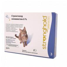 Капли Zoetis Стронгхолд для кошек, от блох, ушных и чесоточных клещей, гельминтов, голубые, 3 пипетки