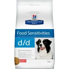 Корм Hills Prescription Diet d/d Food Sensitivities для собак при аллергии, заболеваниях кожи и неблагоприятной реакции на пищу, гипоаллергенный, диетический, лосось/рис