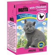 Корм Bozita Mini для котят, курица, кусочки в желе, tetra pak, 190 г