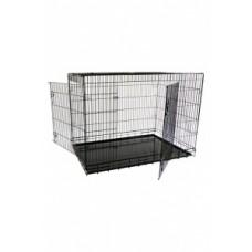 Клетка металлическая с 2 дверками 118 x 78 x 85 см, черная, облегченная, Economic wire cage black 2 doors