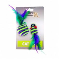 """Игрушка Papillon Cat toy mouse 5 cm and ball 4 cm with feather on card для кошек """"Мышка и мячик с перьями"""", пушистые, в полоску, 5+4 см"""