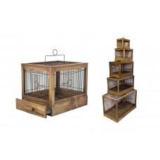 """Клетка Yami-Yami """"Под старину"""" для птиц, большая, деревянная, цвет палисандр, 71x33,5x51 см"""