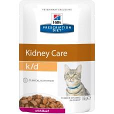 Корм Hills Prescription Diet k/d Kidney Care при заболевании почек, диетический, говядина, пауч, 85 г