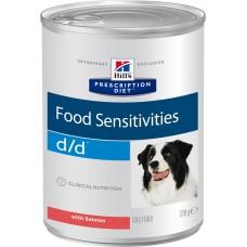 Корм Hills d/d Food Sensitivities для собак при пищевой аллергии, диетический, лосось, банка, 370 г