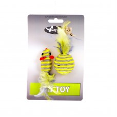 "Игрушка Papillon Cat toy mouse 5 cm and ball 4 cm with feather on card ""Мышка и мячик с перьями"", серо-желтые, 5+4 см"