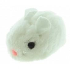 """Виброигрушка """"Плюшевая мышь"""" белого цвета для кошек, 8 см, плюш"""