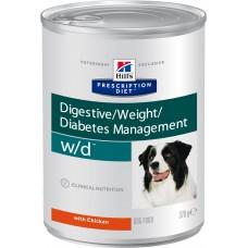 Корм Hills Prescription Diet w/d для собак, лечение диабета, колитов, запоров, контроль веса, диетический, банка, 370 г
