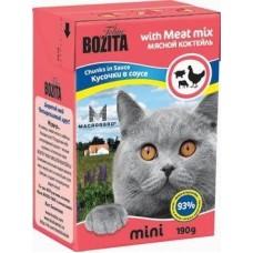 Корм Bozita Mini Chunks in Sauce with Meat Mix для кошек, мясной коктейль, кусочки в соусе, tetra pak, 190 г