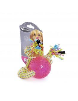"""Игрушка для собак """"Плетеная веревка с 3 узлами и мячиком"""", 38 см, Weaving rope toy with TRP 38cm 140 - 150 g, yellow/pink (3/30)"""