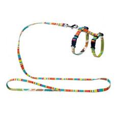 Шлейка Hunter Stripes для кошек и собак, нейлон, разноцветная