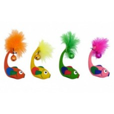 "Игрушка Papillon Latex fish with bell in assorted colours для кошек ""Рыбка с бубенцом"", латекс, 11 см"