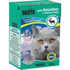 Корм Bozita Mini Chunks in Jelly with Reindeer для кошек, олень, кусочки в желе, tetra pak, 190 г