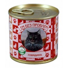 Корм Ем без Проблем для кошек, говядина, банка, 250 г