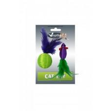 """Игрушка Papillon Cat toy mouse 5 cm and ball 4 cm with feather on card для кошек """"Мышка и мячик с перьями"""" нейлон, 5+4 см"""