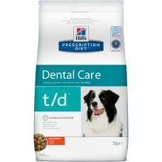 Корм Hills Prescription Diet t/d Dental Care для собак для поддержания здоровья полости рта, диетический, курица, 3 кг