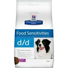 Корм Hills Prescription Diet d/d Food Sensitivities для собак при аллергии, заболеваниях кожи и неблагоприятной реакции на пищу, гипоаллергенный, диетический, утка/рис