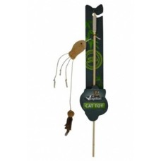 "Дразнилка ля кошек ""Удочка с рыбкой"", 40 + 7 см , Cat toy fishing rod with fish natural"
