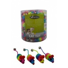 "Игрушка Papillon Rainbow mouse with bell для кошек ""Радужная мышка"" с бубенчиком, вязаная, 5 см"