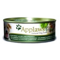 Applaws консервы для собак с курицей, говядиной, печенью и овощами, Dog Chicken, Beef, Liver & Veg, 156 гр