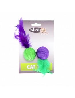 "Игрушка Papillon Cat toy 2 balls 4 cm with feather on card для кошек ""Два мячика с перьями"", 2х4 см"