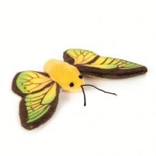 Бабочка плюшевая 11см желтая 440622