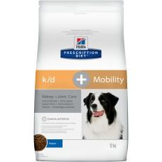 Корм Hills Prescription Diet k/d, Mobility Kidney + Joint Care для собак для поддержания здоровья почек и суставов, диетический, 12 кг