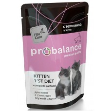 Корм ProBalance Kitten 1`st Diet для котят, телятина, в желе, пауч, 85 г