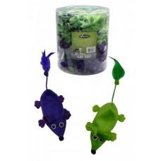 """Игрушка Papillon Plush green + violet mice unstuffed tube для кошек """"Плюшевые мышки, зеленые и фиолетовые"""", 60х11 см"""