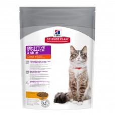 Hill's Science Plan Sensitive Stomach&Skin корм для взрослых кошек для здоровья ЖКТ, 400 гр
